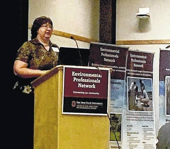Dr. Libby Dayton, a research scientist at OSU, gave a presentation on the On-Field Project at OSU Tuesday morning. The project is an online tool for farmers to assess the risks of contributing to phosphorus runoff in their fields.