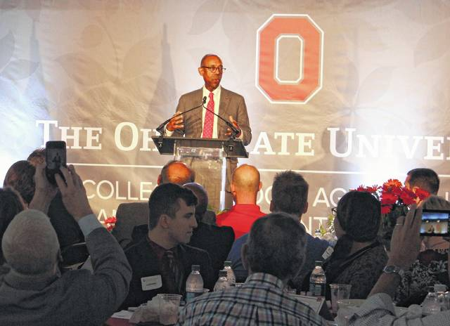 Dr. Michael Drake, President of Ohio State University, addresses the OSU College of Food, Agricultural, and Environmental Sciences at Farm Science Review luncheon Tuesday.