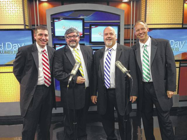 Once again this year, the Music Men of London Barbershop Quartet will be raising funds for the American Cancer Society Relay For Life, the best way they know how — by singing. Members of the group include from left, Matthew Tlachac, Jeff Gates, Craig Chadwell and Paul Oswalt during one of their performances on 'Good Day Columbus.'