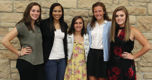 London High School's 2017 Homecoming game is Friday, Sept. 29 at 7 p.m. Seniors will vote for Homecoming Queen and the winner will be announced just before kick-off. Members of the London High School Homecoming Court are, from left: Ryleigh Bexfield, Ariana Calloway, Reagyn Semler, Emily Minner and Katherine Eisler. The Red Raiders will be hosting Liberty Union.