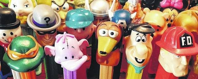 A few samples of Aaron Gates' collection of Pez dispensers.