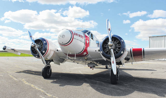 A Beech 18 cargo plane from the 1940s parked at the Madison County Airport. The aircraft, owned by the Champaign Aviation Museum in Urbana, is a type of plane that flew freight out of Madison County in the 1970s. The airport celebrated 50 years of business with an open house Saturday.