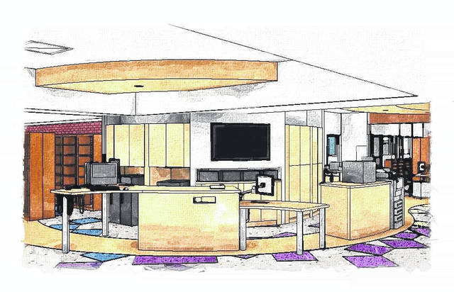 An artist's rendering of the new circulation desk at the Plain City Public Library. Starting on Nov. 22, the library will undergo major interior renovations including updates of space, technologies and utilities. Although the 305 W. Main St. location will be closed until April 2018, the library will be open for limited services at 249 W. Main Street.
