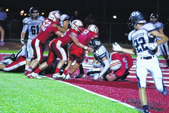 The London defense records a safety during the 50-8 home win over Grandview Friday.