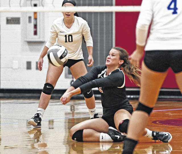 Jonathan Alder's Sara Dickey makes a play on the ball during a match earlier this season. She recently helped the Pioneers in victories over Kenton Ridge and Hilliard Bradley.