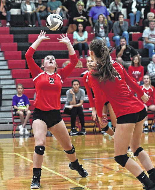 Alder's Abby Jester (9) sets the ball during a match last week against visiting Bellefontaine.