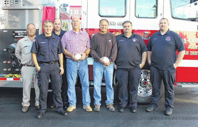 The Pleasant Township Trustees are partnering with the Tri-County Fire Department to pass out smoke detectors for Fire Prevention Week. Starting Monday, Oct. 9, Peasant Township residents in Madison County will be able to go to the fire station and pick up a free smoke detector from 7 a.m. to 5 p.m., Monday through Friday. From left are: Gary Neff, Township Trustee; Zach Graham, firefighter; Bruce Alkire, firefighter; Mark Harden, Township Trustee; Sam Junk, Trustee; Chief Dave Taylor; and Todd Phillips, firefighter.