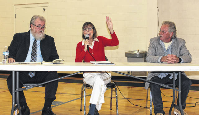 The three candidates for Mayor of Mount Sterling spoke to a crowd gathered at the Mt. Sterling Community Center Tuesday night, Oct. 24. The trio are from left: Dusty Parker, Diane Spradlin and Billy Martin.