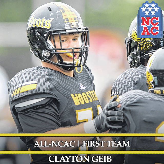 Clayton Geib, was named All-North Coast Athletic Conference and academic all-district for football by the College Sports Information Directors of America (CoSIDA). He passed away unexpectedly Sept. 17.