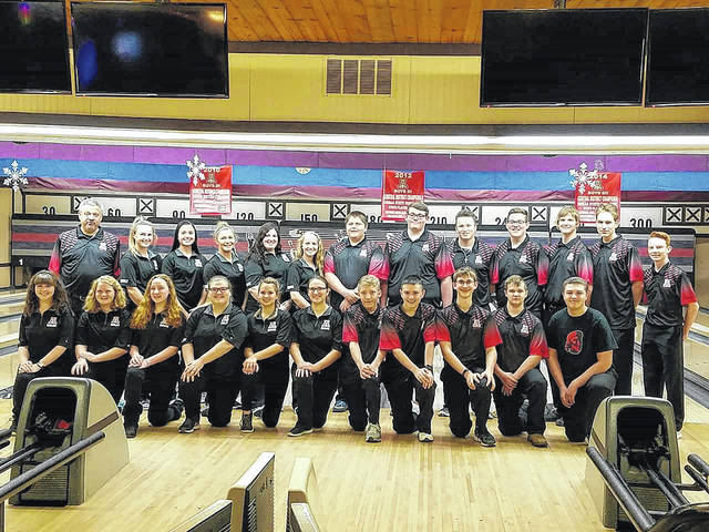 Members of the Jonathan Alder bowling teams are front row from left: Tabitha Bartoe, Lana Kirts, Katie, Chloey Boyer, Josie Campbell, Madison, Jackson Lane, Trenton Parks, Nathan Clark, Luke Walker and Hunter Conkel; second row: Coach Rusty Walter, Emily Walker, Rachel Kaeser, Cierra Clark, Hallie Nichols, Rena Kirts, Luke Honigford, Darren Maynard, Zach Otto, Jake Schrock, Josh Schrock, Andrew Clark and Josh DeVore.