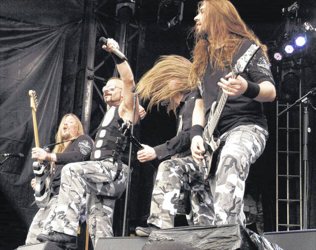 The rock band Sabaton is pictured performing at the 2015 Rock On the Range.