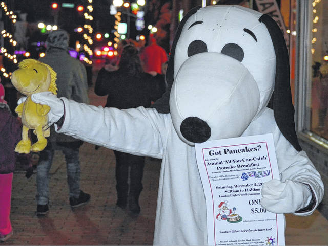 """Even Snoopy and Woodstock are excited about London Music Boosters' annual Pancake Breakfast, to be held Saturday morning at London High School. The unique """"All-You-Can-Catch"""" experience starts at 8:30 a.m."""