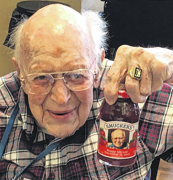 Leland Forrest turned 103 years old on Tuesday, Dec. 12. He loved his birthday present of Smucker's Strawberry Preserves with his photo on it.