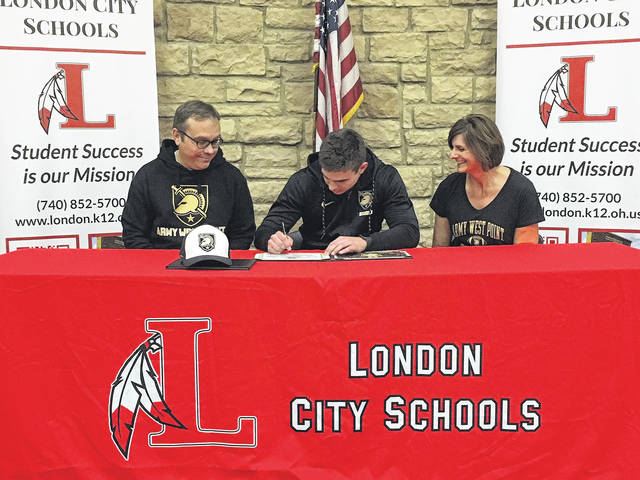 London High School senior Miller Kronk signed a National Letter of Intent to play football at Army West Point. Joining Miller at the signing ceremony at the high school Wednesday, Dec. 20 were his parents Rod and Ginger.