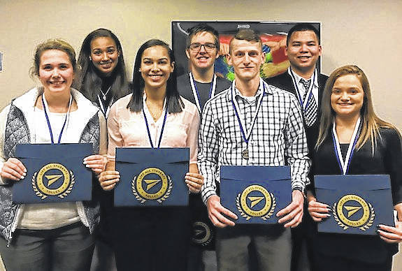 The top eight finalists honored by Tolles Career & Technical Center at the annual Senior Interview Contest are front row from left: Mikel Tatman, Ariana Calloway, Clay Carter and Lindsey Green; second row: Sasha Lee, Caeden Luke and Brandon Le. Not pictured is Ashley Whealdon.