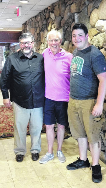 Generations of stage experience converged this summer in upstate New York as columnist Jeff Gates and his son Aaron met with nationally-recognized theatrical educator Bob Sagan, center, the older Gates' high school drama/musical director/mentor.