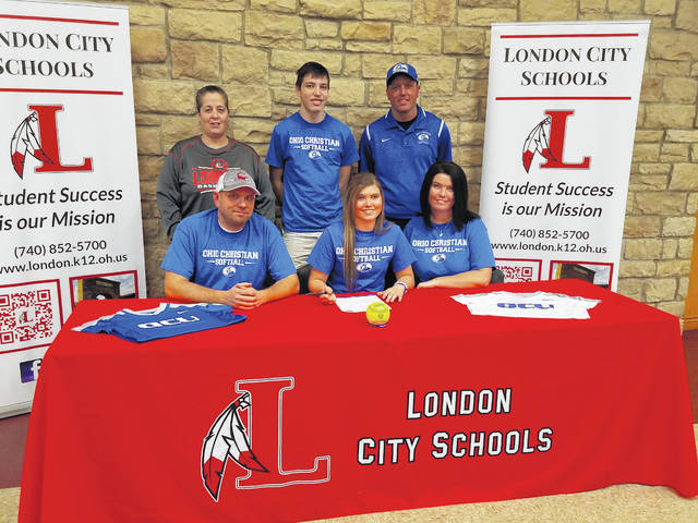 London High School senior softball standout Serena Crawford recently signed a letter of intent to play softball at Ohio Christian University. She was joined by front row from left: Shane Crawford (father), Serena Crawford and Cassie Crawford (mother); second row: Kelly Nelson (London head softball coach), CJ Crawford (brother) and Dave Polly (OCU head softball coach).