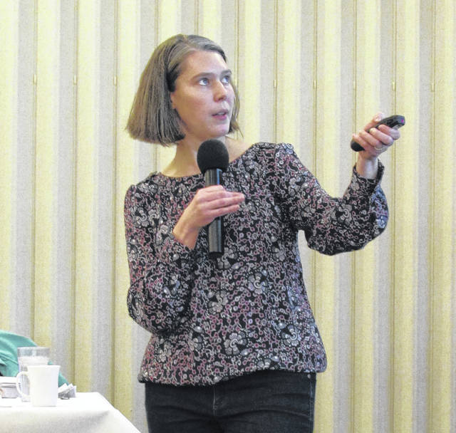 Dr. Laura Lindsey, Department of Horticulture and Crop Science, The Ohio State University. She spoke to farmers from Madison, Union and Delaware counties at the 2018 Farmer's Breakfast on Friday about closing the gap on soybean yields.