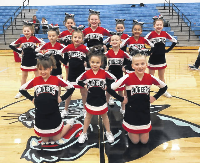 The Pioneer Optimist Youth Competition Cheerleaders are front row from left: Hannah Wolfe, Kaylie Miller and Taylor Wilkins; second row: Abbey Lewis and Savannah Higgins; third row: Kenlie Peyton, Lyndsey Allen, Ava Riddlebaugh, Daisy Henderson, Riley Magginis, Jocelyn Solano and Josie Miller.