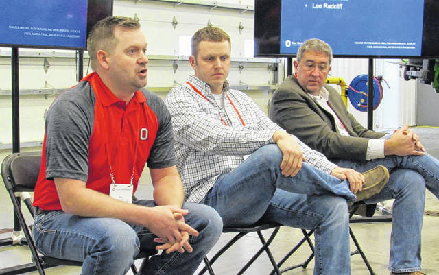 Speaking about equipment and technology at the Precision University Nutrient Management Conference at Beck's Hybrids in London are from left: Nate Douridas, Molly Caren Agriculture Center (Madison County); Lee Radcliff, Radcliff Farms (Pickaway County); and Dr. Scott Shearer, Professor and Chair at the Ohio State Department of Food, Agricultural and Biological Engineering.