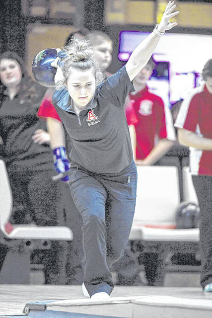 Jonathan Alder sophomore Emily Walker has the third highest average (163) on the Lady Pioneers bowling team this season.