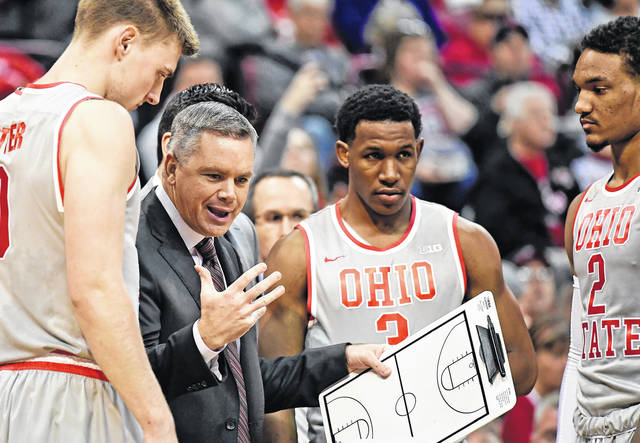Ohio State coach Chris Holtmann has his Buckeyes sitting atop the Big Ten standings following the Buckeyes upset win over Purdue Wednesday.