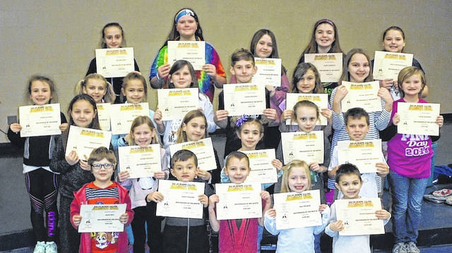 Norwood Elementary School in West Jefferson has announced their January Roughriders of the Month. Students displaying the Rider virtue of caring, earned a certificate, spirit sticks, and ate lunch with their principal, Sue Barte. Front row from left are: Kindergartners, Adam Seel, Dalin English, Ian Seal, Ella Sparks and Myles Thompson; second row: first graders, Madison Phelps, Lauren Friessen, Stella Taylor and Sloane Thompson, second graders, Zoie Smith and Jaxon Bare; third row: third graders, Avery Kaufman, Jaylen Poe, Jill Mikulin and Anna Melfi, fourth graders, Ethan Friessen, Annabelle Reeve, Kylah Blanchard and Chloe Hawkins; fourth row: fifth graders, Mallory Boyd, Addie Stryker, Selah Harrison, Maryn Roberts and Megan Workman-Bailey. Not pictured is second grader Colten Thomas.