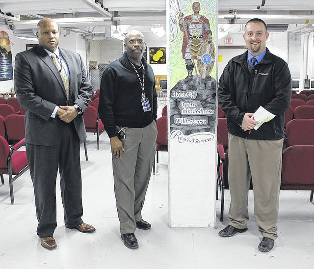 London Correctional Institution (LoCI) rolled out the Treatment Transfer Program (TTP) Feb. 14 which allows incoming addicts to go into treatment with the possibility of finishing their sentence in a halfway house. From left are: Warden Norman Robinson; Willie White, Recovery Services Supervisor at LoCI; and J.D. Hurst, Project Manager for TTP.