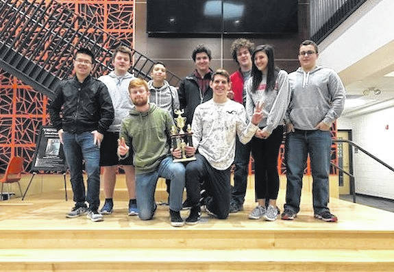 The London High School Quick Recall Team are front row from left: Troy McFarland and Ethan Pozy; second row: Johnny Ren, Jacob Broerman, Cameron Tran, Telmo Zabalbeascoa, Richie Geib, Amaya Siddiqi and Christian Bryant.