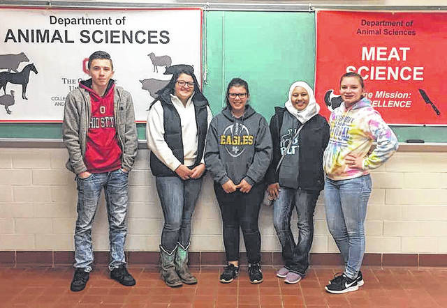 Madison-Plains FFA Meat Judging Team in December are from left: Josh Champer, Lexi Virts, Alyson Dudgon, Soukina Fram and Sara Sampson.