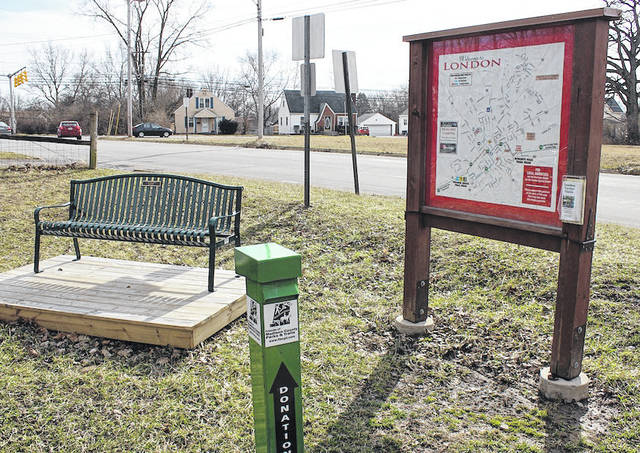 A map sits at the opening of the Roberts Pass Trail at its meeting of Maple Street. County officials held a groundbreaking ceremony last year on the property across from the trail which will serve to connect the bike path to Walnut Street. A ribbon cutting event is planned for April 7.