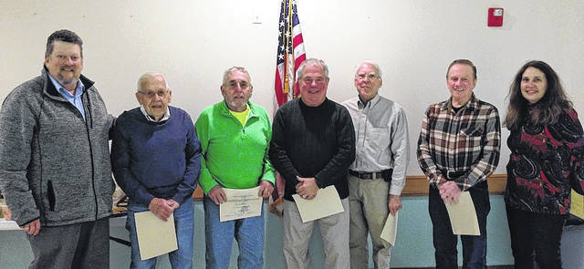 Volunteers of the Trail Sentinel Program were recognized for their hours of service on behalf of the Madison County Park District by Commissioner David Hunter at the Friends of the Madison County Parks and Trails annual meeting held at the Madison County Senior Center on Saturday, Jan. 17. From left are: David Hunter, Gene Pass, John Allison, Jim Price, Wayne Roberts, Jerry Miller and Jody Dzuranin.