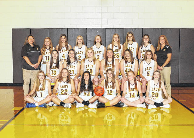 The West Jefferson Middle School girls basketball team are front row from left: Camryn Justus, McKayle Woodford, Mikayla Jewell, Lena Carsey, Izzie Johnson and Layla Farley; second row: Emma Brown, Grace Kitchen, Taylor Roberts, Laney Lambert, Kaitlyn Campbell and Maddie Gaus; third row: Coach Rachel Stanley, Myra Harper, Rylee Hart, Abby Arteaga, Emma Crace, Lauren Humphries, Brooke Mannon, Maggie Bumgardner and Coach Jill Lambert.