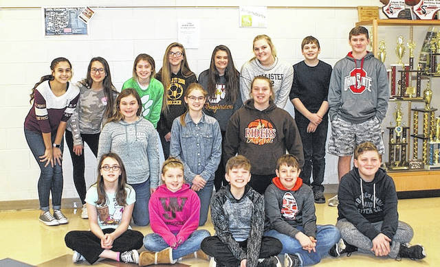 West Jefferson Middle School January Students of the Month for Math are front row from left: Amber Sherman, Leanna Kovalchik, Jaden Davis, Christian Greene and Braydon Hundley; second row: Kayelee Harding, Camryn Justus and Laney Lambert; third row: Kylie Zeoli, Aliyanna Soloha, Madison Hunter, Courtney Conkel, Daisy Green, Taylor Roberts, Graham Gardner (Algebra) and Michael Pettry. Not pictured is James Wells, Mason Hammond, Addyson Tabor, Bradyn Plotts, Ruth Stanley, Madison Wells and Jacob Butler.