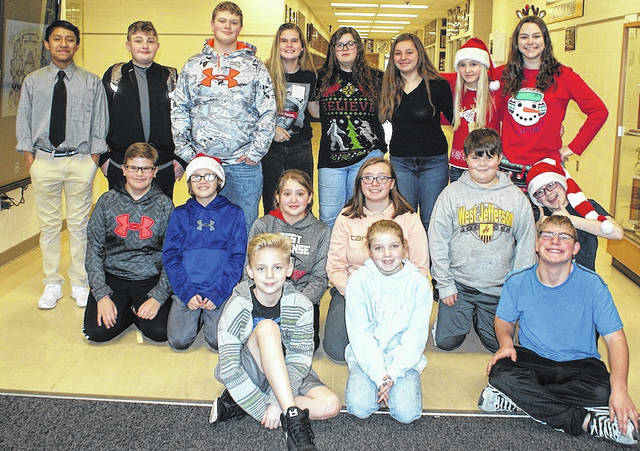 Students of the Month for Computer, Health, PE and Business at West Jefferson Middle School are front row from left: Ethan Saddler, Leanna Kovalchik and Michael Potter; second row: Zander Stephens, Tyler Goudy, Gabrielle Lytle, Courtney Hunter, Landon Bare and Carter Smith; third row: Spencer George, Michael Wolford, Kaden Fitzgerald, Izzy Harris, Nikiha Kelly, Haleigh Eppert, Tennessee Jennings and Grace Kitchen. Not pictured is Amelia Campbell and Kaleigh Branham.