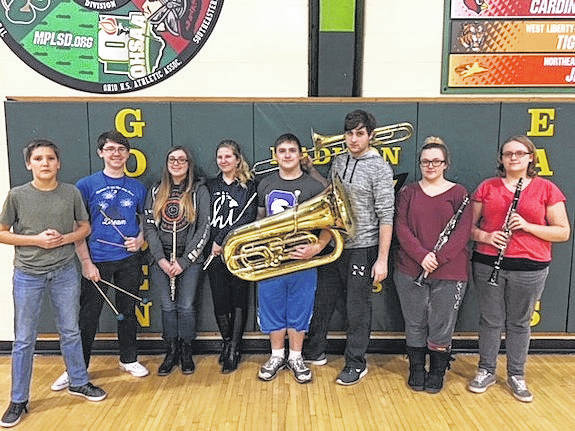 OMEA participants from the Madison-Plains High School Band are from left, freshman Evan Fisher, junior Steven Hayes, senior Kerstyn Neeley, sophomore Dani Breen, junior Josh Warnock, sophomore Jesse Arledge, junior Ashley Griffith, and junior Alexa Freier. Not pictured is senior Heather Baugess.