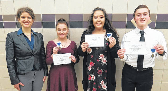 A trio of West Jefferson High School singers earned top honors in the Ohio Music Education Association (OMEA) Solo and Ensemble Competition, held Saturday, Jan. 27 at Pickerington North High School. Nathaniel Dersom, who performed 'Rolling Down To Rio' by Edward German, Loraine Stone ('Si mes vers avaient des ailes' by Reynaldo Hahn), and Nicole Evans ('O Mio Babbino Caro' by Giacomo Puccini), each earned superior ratings by the judges. The students — all juniors — are under the direction of Rachel Armas, and accompanied by Jacob Boyer. From left are: Armas, Evans, Stone and Dersom.