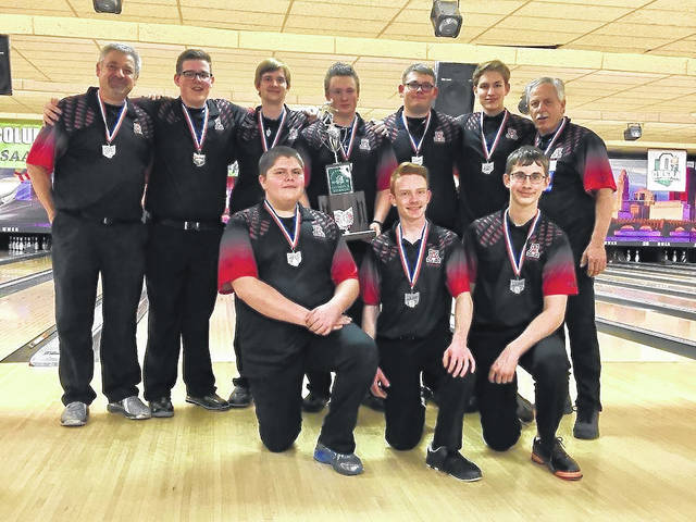 Members of the 2017-18 Division II state runner-up Jonathan Alder boys bowling team are front row from left: Luke Honigford, Josh DeVore and Nathan Clark; second row: Head coach Rusty Walter, Jake Schrock, Josh Schrock, Zach Otto, Darren Maynard, Andrew Clark and Assistant coach Jim Walter.