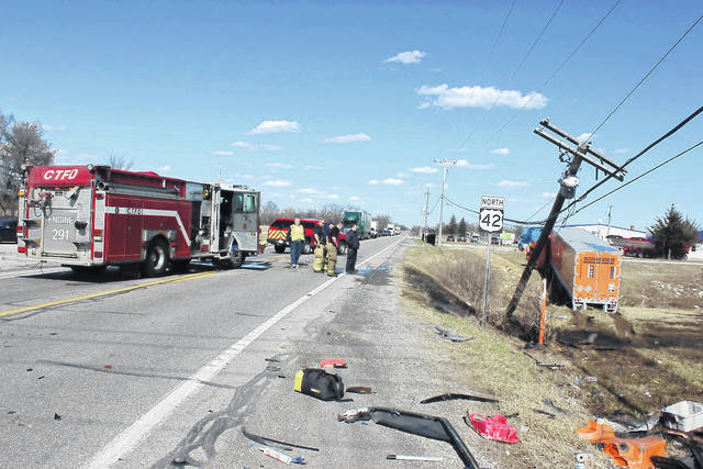 A two-vehicle crash occurred at the intersection of U.S. Route 42 and State Route 29 around 2:19 p.m. Tuesday afternoon. Travis Martin of Zanesville was traveling eastbound on State Route 29 when he ran a red light, causing his pickup to be struck a semi truck operated by Harry Rouse Jr. of Florida.