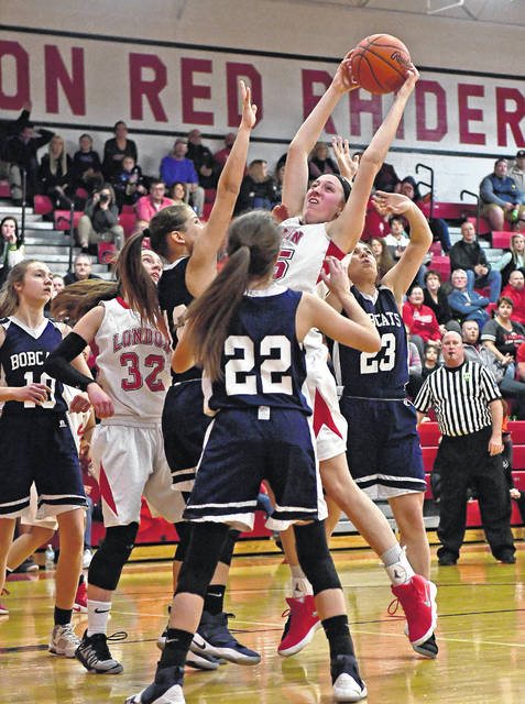 London senior Hannah Coleman goes up for a rebound in this shot. She was recently selected first team Division II All-Central District.