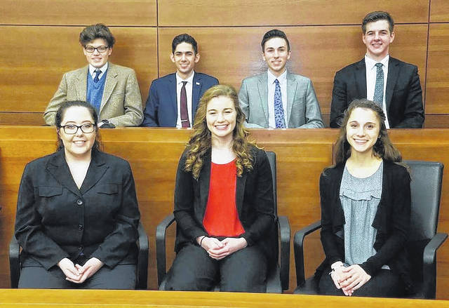 Members of the West Jefferson Mock Trial team will head to the state competition on Thursday. Front row from left are: Loraine Stone, Hope Lewis and Sarah Haskins; second row: Andrew Weber, Thomas Farbacher, Reese Nawman and Jared Vermilion.