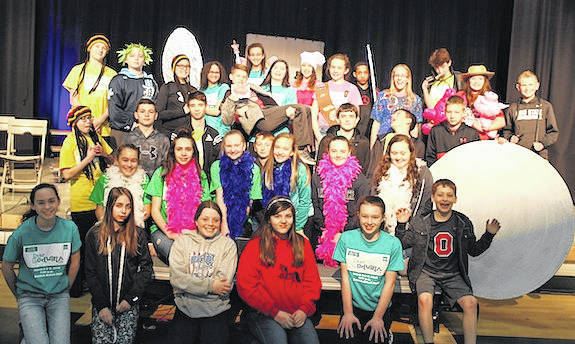 """The sixth, seventh and eighth grade classes hold a rehearsal for their upcoming spring musical, """"Dear Edwina JR."""" Sunday afternoon. The show runs March 8 and March 9 at 7 p.m. Tickets are available from the school office or by calling 740-222-4381."""