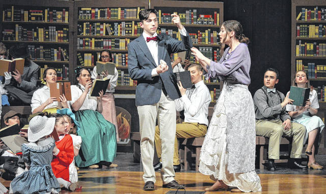 """Reese Nawman stars as traveling con man Harold Hill trying to woo naïve librarian Marian Paroo, played by Rachael Brown. They lead a talented cast in West Jeff's production of """"The Music Man"""" this weekend. Shows are Friday and Saturday at 7 p.m., as well as Saturday at 3 p.m. The Thursday night Dinner-Theatre is sold out."""