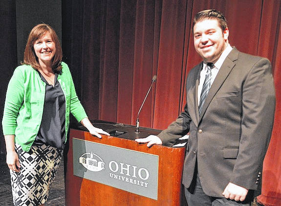 Aaron Gates, right, is honored by Ohio University Dean of Student Jenny Hall-Jones on Sunday, April 8 during his recent induction into Alpha Lambda Delta, a national society that honors academic excellence during a student's first year in college. A dean's list scholar, Gates is a freshman at Ohio University's main campus in Athens, majoring in Theatre Performance. He is also a member of the Singing Men of Ohio, the university's prestigious men's glee club. He was recently awarded a summer apprenticeship where he will be constructing theatrical scenery for Ohio University's Tantrum Theatre. Gates is a 2017 graduate of London High School. He is the son of Jeff and Maggie Gates of London.