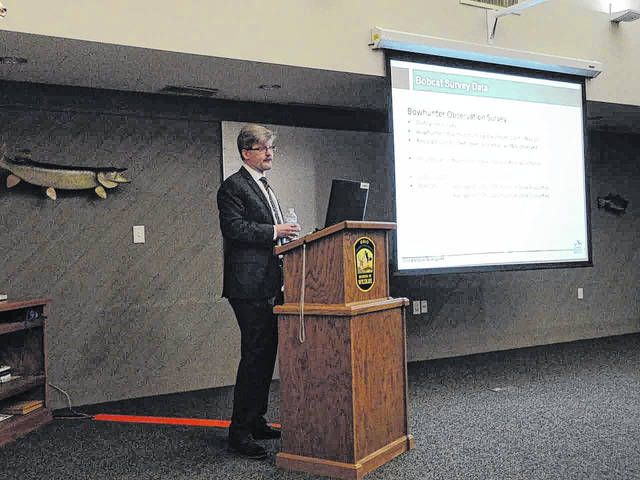 Wildlife biologist Mike Reynolds presents survey and research data on Ohio bobcats to the state wildlife council on Wednesday, April 11. Council members are expected to vote on a limited bobcat trapping season for the state on May 17.