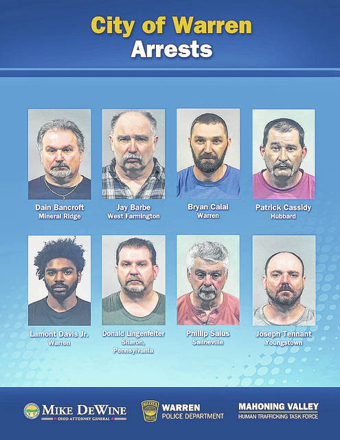 Eight were arrested in undercover operation aimed at reducing demand for sex trafficking in Warren on Wednesday, April 18.