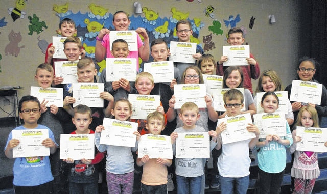 """Norwood Elementary School in West Jefferson has announced their March Roughriders of the Month. Students exhibiting the virtue of """"Safe"""" received a certificate, two spirit sticks and, ate lunch with their principal Sue Barte. Front row from left are: Kindergarteners, Neo Redd, Nathan Bentley, Hannah Bias, Zach Trott and Leland Dyer, first graders, Troy Adams, Evelyn Nixon and Aariana Vargo; second row: second graders, Brady Grener, Wade Reeve and Levi Hawkins, third graders, Alexis Dennen, Ciara Fannon, Scarlet Phipps and Briahana Curry; third row: fourth graders, Sam Peters, Kayden Smith, Blake Bogenrife and Eros Brumfield; fourth row: fifth graders, Charlie Melfi, Aleithia Wilson, Charlie Kitchen and Rylan Archey. Not pictured is first grader Mason Rogers and fifth grader Ashlynn Tabor."""