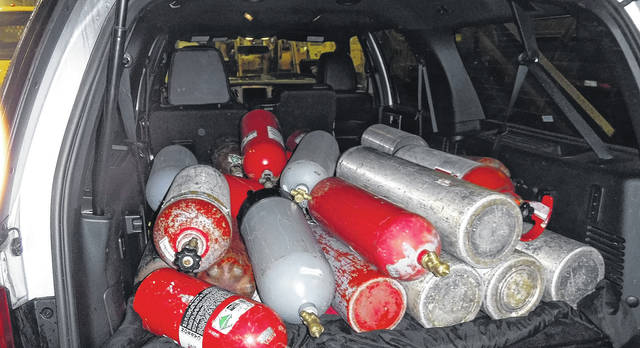 Ohio State Highway Patrol troopers seized 939 pounds of Nitrous Oxide valued at approximately $177,471 during a traffic stop on April 3.