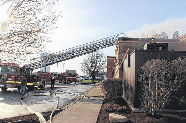 Multiple fire departments responded to a fire at the Wendy's on Lafayette St. Friday evening around 6 p.m.