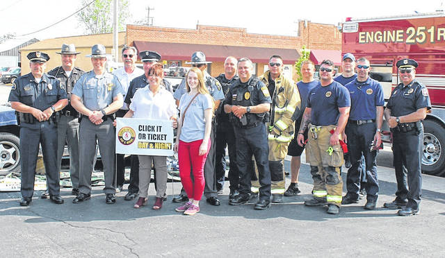 Representatives of the various organizations making up Madison County Safe Communities Coalition were at Pat's Pizza in West Jefferson Monday morning to kick off the 2018 Click It or Ticket traffic safety campaign. The national seat belt campaign is aimed at enforcing seat belt use to keep families safe as the busy travel season begins. The campaign continues through June 3.
